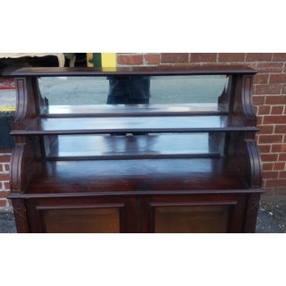 Antique Early Victorian Incised Mahogany Glass Credenza Cabinet on Stand C1860 Preview