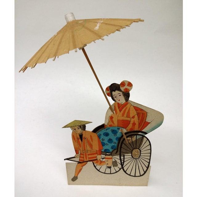 Vintage Japanese Paper Umbrella & Rickshaw Placeholders Set - Image 2 of 9