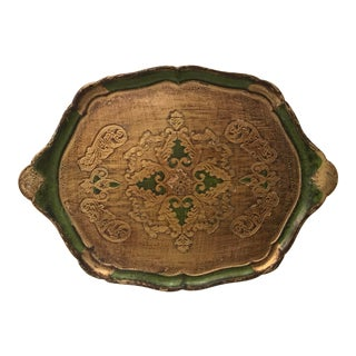 Vintage Green and Gold Florentine Tray For Sale