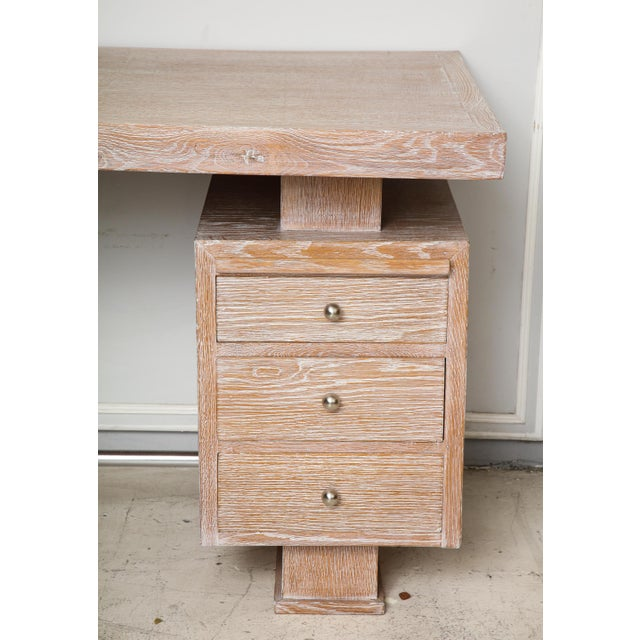 1940s French Cerused Oak Desk For Sale - Image 5 of 11