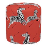 Image of Scalamandre Drum Ottoman in Coral Zebra For Sale