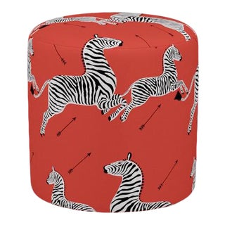Scalamandre Drum Ottoman in Coral Zebra For Sale