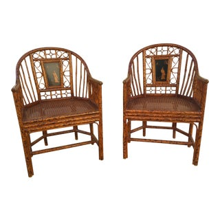 Pair Matiland Smith Chairs Chinoiserie Bamboo For Sale