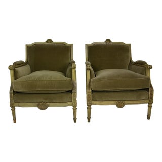 1950s Vintage Louis XVI Style Club Chairs- A Pair For Sale