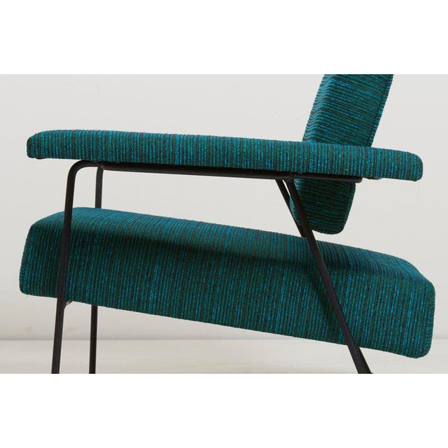 Rare Adrian Pearsall lounge chair for Craft Associates. The chair has a wrought iron frame with new upholstery.