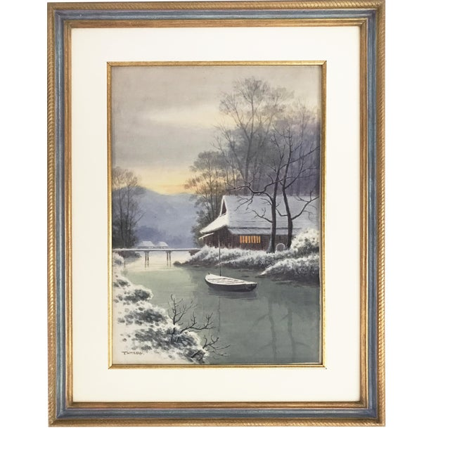 Japanese Landscape Watercolor Painting - Image 1 of 9