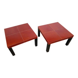 Stitched Leather Topped Side/Cocktail Tables, a Pair For Sale