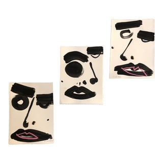 Gallery Wall Collection Original Contemporary Robert Cooke Abstract Face Paintings - Set of 3 For Sale