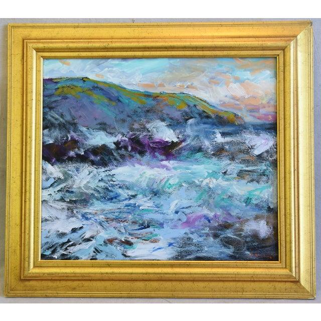Juan Pepe Guzman California Crashing Ocean Waves Oil Painting For Sale - Image 9 of 9