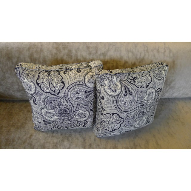 Contemporary Contemporary Cotton Paisley Black and White Pillows - a Pair For Sale - Image 3 of 8