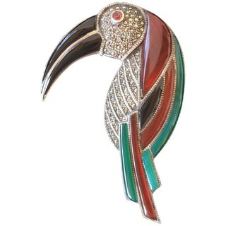 Huge Gemstone and Sterling Silver Toucan Brooch. Deco Style. 1970's. For Sale