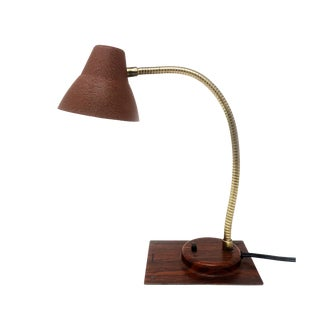 Vintage Brown Tensor Gooseneck Desk Lamp For Sale