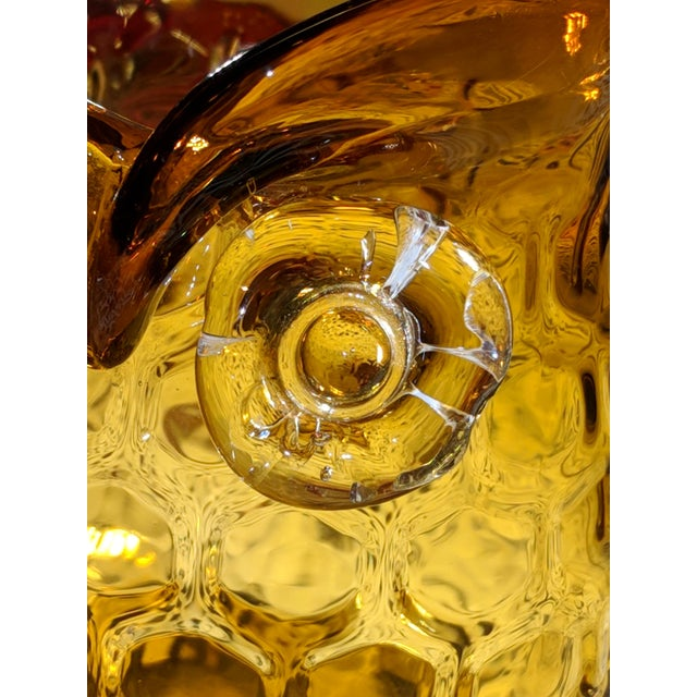 Mid-Century Modern Blown Amber Glass Owl Shaped Candle Holder Vase For Sale - Image 3 of 13