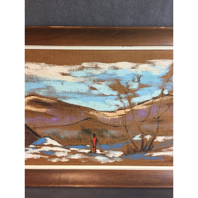 Brown Mid Century Modern Burlap Painting by Levente Kovacs For Sale - Image 8 of 11