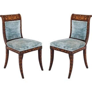 Dutch Inlaid Upholstered Chairs - Set of 4 For Sale