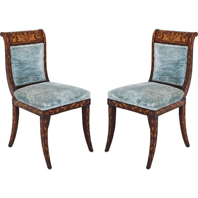 Dutch Inlaid Upholstered Chairs - Set of 4 - Image 1 of 4