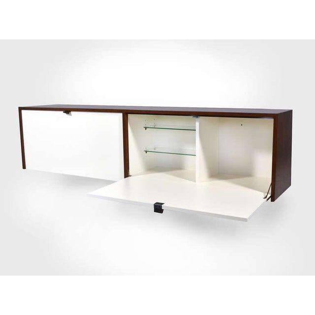 White Pair of Florence Knoll Walnut Wall Mounted Credenzas or Cabinets For Sale - Image 8 of 10