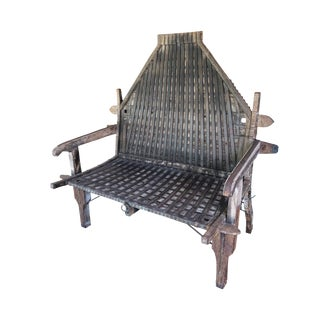 Antique Brown Oxcart Bench For Sale