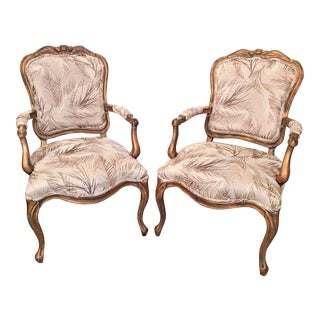 French Provincial Style Bergere Chairs- A Pair For Sale