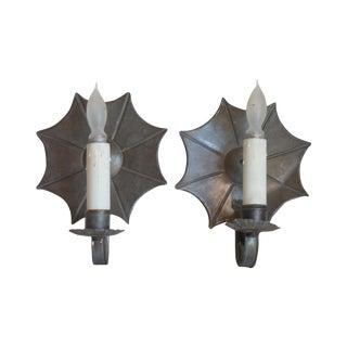 New England Tin Starburst Sconces - Pair