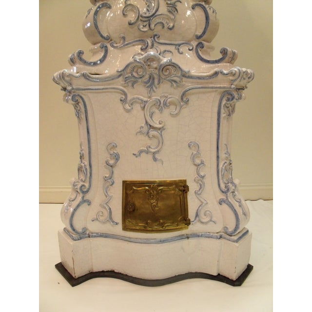 Italian Ceramic Delft Terracotta Parlor Stove Blue and White Baroqure Revival Italy Botteghe Artigiane For Sale - Image 6 of 13