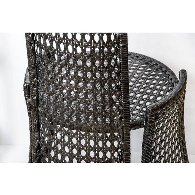 Unusual Mid-Century High Back Black Woven Rattan Cane Chairs, A-Pair For Sale In West Palm - Image 6 of 13
