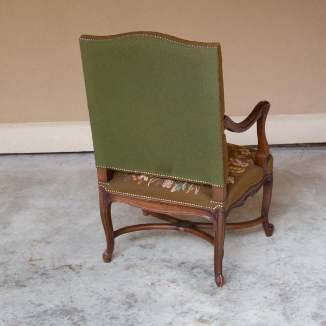 19th Century Antique French Louis XV Original Needlepoint Tapestry Armchair For Sale - Image 12 of 13