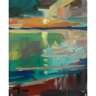 Expressionist Inspired Seascape Sunset Beach Oil Painting For Sale