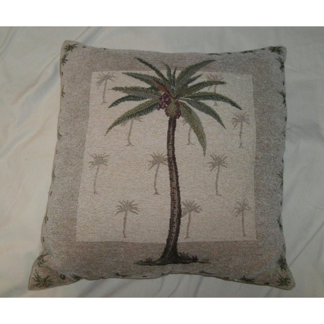 Late 20th Century Vintage Boho Chic Coconut Palm Tree Accent Pillow For Sale - Image 5 of 5
