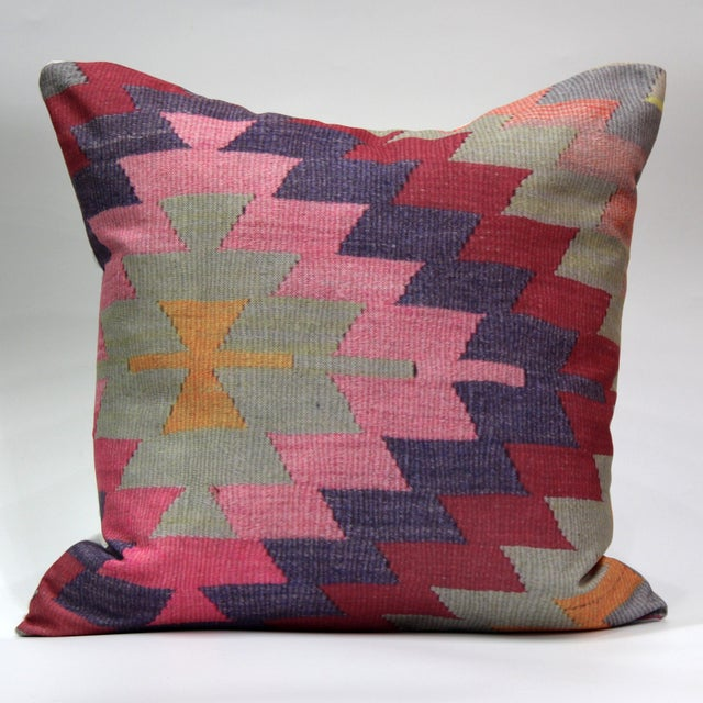 Diamond Pattern Kilim Inspired Print Pillow - 18'' - Image 2 of 8