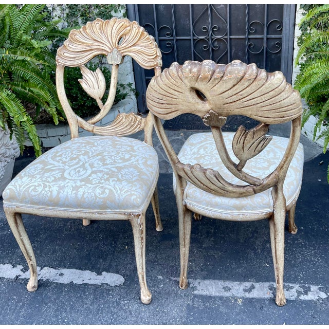 Textile Vintage Fortuny Upholstered Carved Italian Grotto Chairs - a Pair For Sale - Image 7 of 8