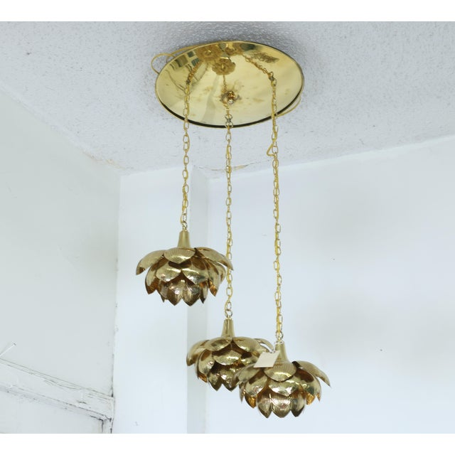 "Brass Brass ""Lotus"" 3 Tier Pendant Light Fixture For Sale - Image 7 of 7"