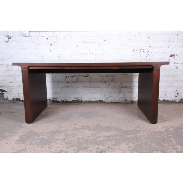 Mid 20th Century Baker Furniture Mahogany and Burl Wood Executive Desk, Newly Restored For Sale - Image 5 of 13