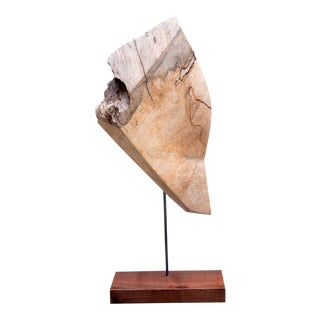 Darin White Faceted Spalted Maple Wood Sculpture For Sale