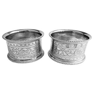 Antique Napkin Rings with Cat Crest - A Pair Preview