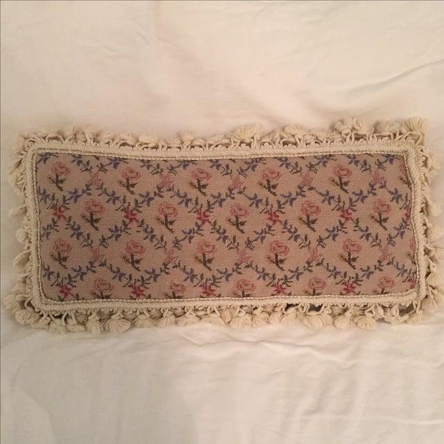 Needlepoint Pillow, Blue, Pink, Creme - Image 2 of 5