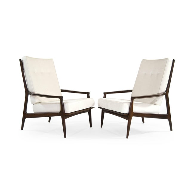 """Rare set of high back walnut lounge chairs titled """"The Archie Chair"""" designed by Milo Baughman for Thayer Coggin, circa..."""