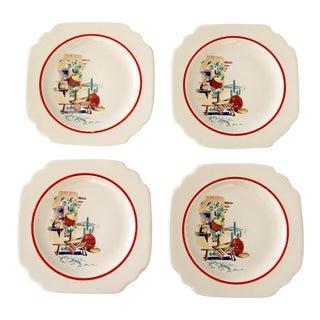 1940s Homer Laughlin Hacienda Bread Plates - Set of 4 For Sale
