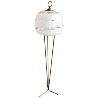 Tripod Floor Lamp With White Murano Glass Shade, Italy, 1960s For Sale