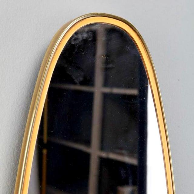 Italian Mid-Century Brass and Yellow Enamel Ovoid Mirror - Image 3 of 3