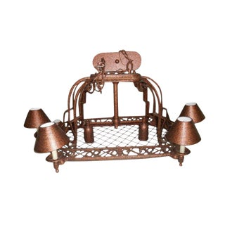 Island Rustic Copper Kitchen Led Chandelier For Sale