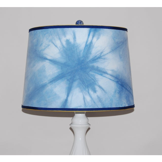 Ceramic Column Lamp With Shibori Lampshade - Image 3 of 5