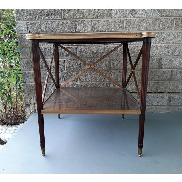 Theodore Alexander Eglomise Walnut End Lamp Table With Lower Shelf, Glass and Brass Accents For Sale - Image 13 of 13