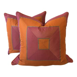 "Bright Pink and Tangerine Silk Mitered Stripe 22"" Pillows-A Pair For Sale"
