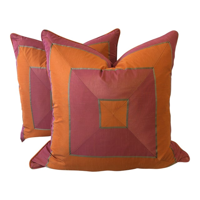 """Bright Pink and Tangerine Silk Mitered Stripe 22"""" Pillows-A Pair For Sale"""