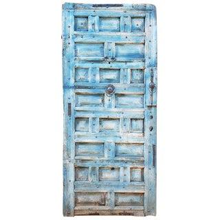 1920s Vintage Funky Blue Moroccan Wooden Door For Sale