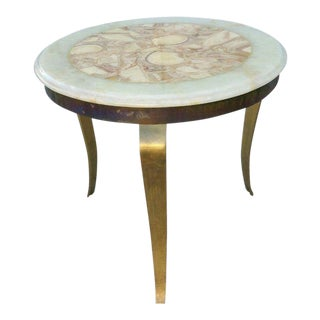 1970s Mid Century Modern Muller of Mexico Onyx Side Table For Sale