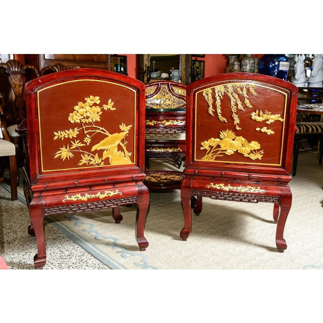 Chinese Vintage Chinese Rosewood Table and Four Chairs - Set of 5 For Sale - Image 3 of 10