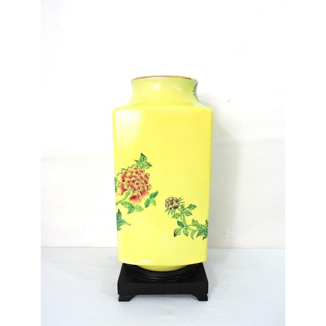 A gorgeously cheerful summer piece made in Japan. This Cong style vase of white porcelain is hand decorated in the Famille...