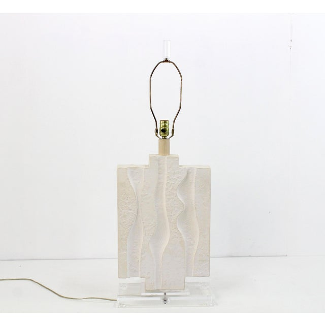A sculptural Brutalist table lamp designed by Casual Lamps in 1987 The lamp is cast plaster and acrylic base Newly rewired...